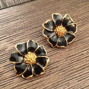 Vintage Goldtone Black Enamel Flower Earrings Clip